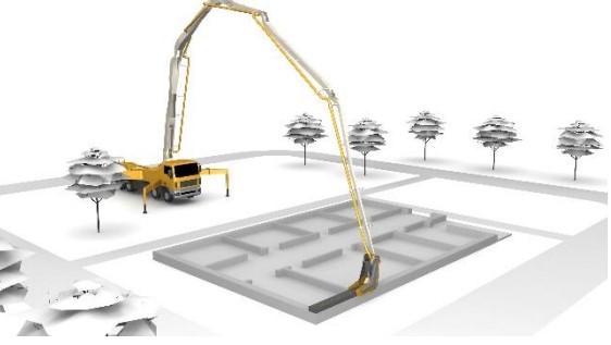 پرینتر سه بعدی CONprint3d مورد استفاده برای پرینت سه بعدی بتن یکپارچه در ساخت و تولید