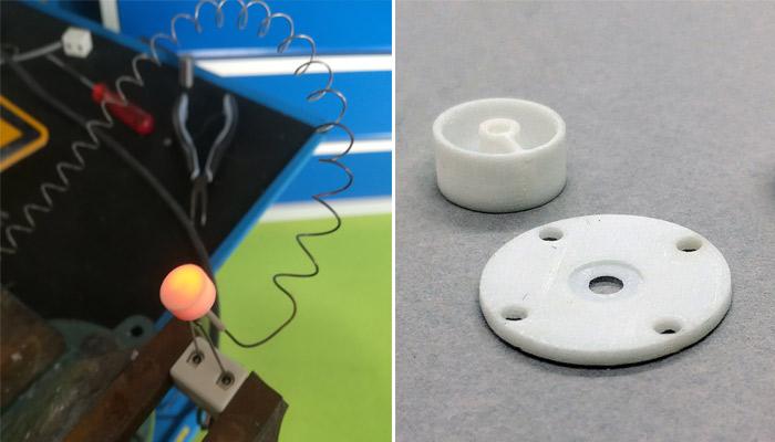 سمت چپ: کارتریج حرارتی سفارشی ESRF و سمت راست: نگهدارنده ی نمونه و یک کارتریج حرارتی